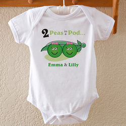 Personalized 2 Peas in a Pod Baby Twin Bodysuit