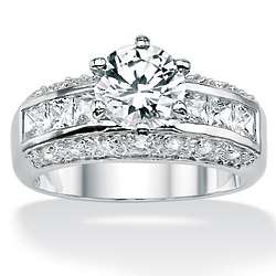 Cubic Zirconia Platinum Over Sterling Silver Engagement Ring