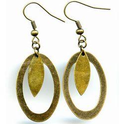 Leaf II Elemental Brass Oval Earrings