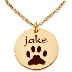 Engraved Gold-Plated Name and Paw Print Pendant