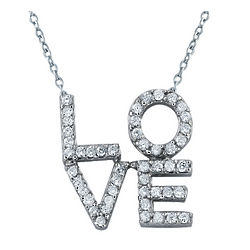 14K White Gold Diamond Love Pendant