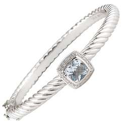 Diamond and Blue Topaz Bangle Bracelet