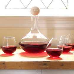 Handblown Wine Decanter and Tipsy Wine Glasses Set