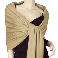 Pure Pashmina 3 Ply Wrap in Dark Camel