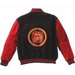 Suede Marine Logo Varsity Jacket