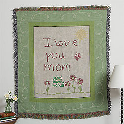 Personalized I Love You Mom Afghan
