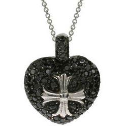 Sparkling Black CZ Heart with Cross Pendant