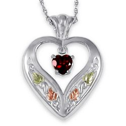 Gold on Sterling Garnet Heart Necklace