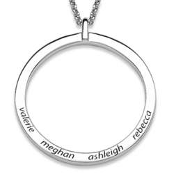 Sterling Silver Large Family Name Disc Necklace