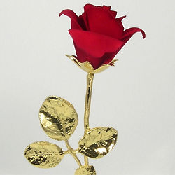Porcelain Red Rose with Gold Stem