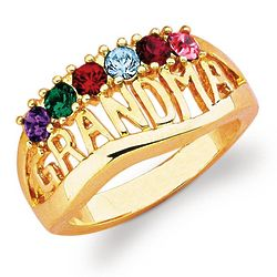 14k Yellow Gold Plated Simulated Birthstone Grandma Ring