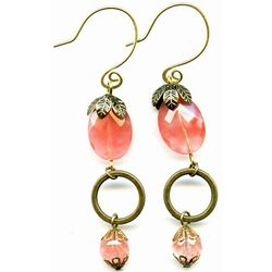 Strawberry Quartz and Brass Circles Elemental Earrings