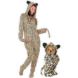Leopard Hoodie-Footie Teddy Bear & Womens XS Pjs Gift Set