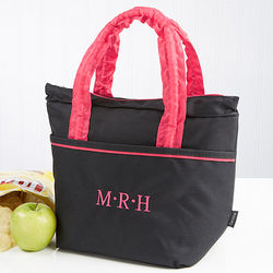 Classic Black Embroidered Monogram Lunch Tote