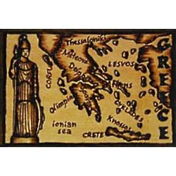 Greece Map Leather Photo Album in Natural