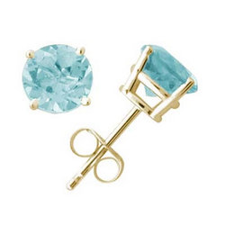 7 mm Round Aquamarine Earrings in 14k Yellow Gold