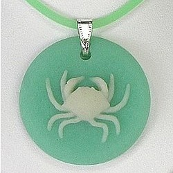 Crab Pendant in Fossil Coral