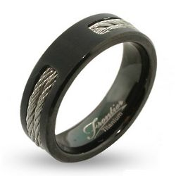 Men's Black Engraved Titanium Signet Ring
