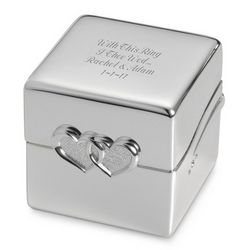 Personalized Double Heart Ring Box