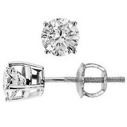 1 Carat J-L I3 Round Diamond 14k Gold Stud Earrings