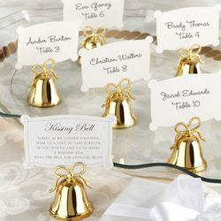 Gold Kissing Bells Place Card/Photo Holder Set