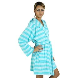 Women's Rugby Stripes Lightweight Bathrobe with Hood
