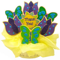 Butterflies and Tulips Thank You Sugar Cookie Basket