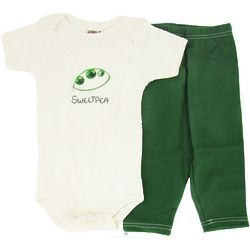 Organic Cotton Sweet Pea Baby Bodysuit and Leggings