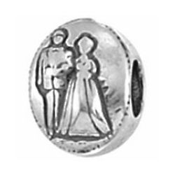 Sterling Silver Pandora Style Bride and Groom Bead