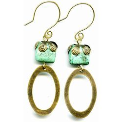 Turquoise and Brass Circles Elemental Earrings