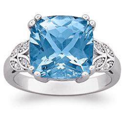 Sterling Silver Cushion-Cut Blue Topaz and Diamond Ring