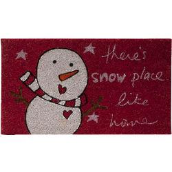 Snowman Red Doormat