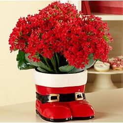 Santa's Boots Christmas Flower Centerpiece