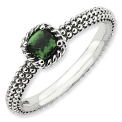 Antiqued Sterling Silver Checker-Cut Faux Emerald Ring