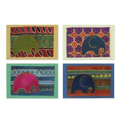 4 Elephant Journeys Cotton and Paper Greeting Cards