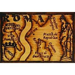 Rome Map Leather Photo Album in Natural