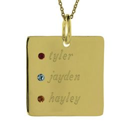 Close to the Heart Engraved Square Tag Birthstone Pendant