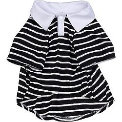 Black Striped Polo Medium Dog Shirt