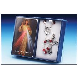 Divine Mercy Laminate Prayer Card And Rosary