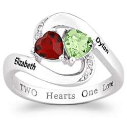 Sterling Silver Heart Birthstone and Name Swirl Ring with Diamond