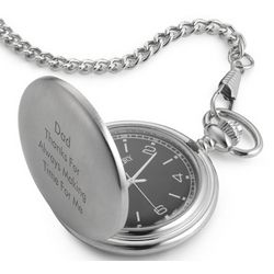 Top Stem Pocket Watch with Black Dial