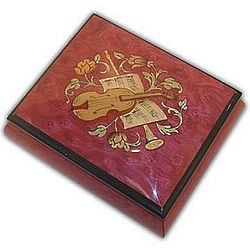 Instrument Inlayed Red Wine Musical Jewelry Box