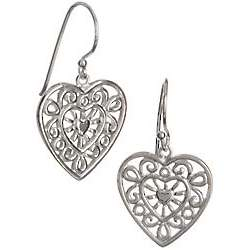 Silver 100 Filigree Heart Drop Earrings