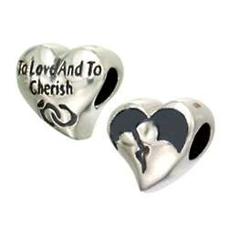 Sterling Silver Love and Cherish Double Sided Heart Bead