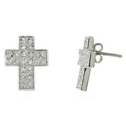 Sterling Silver And Pave Cubic Zirconia Cross Stud Earrings