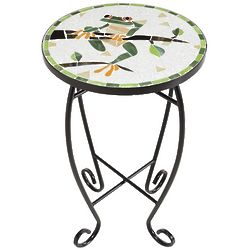Round Frog on Branch Glass Mosaic Table
