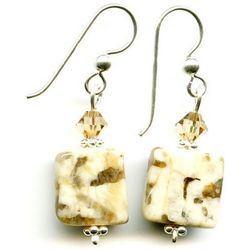 Artisan Brown Zebra Stone Earrings