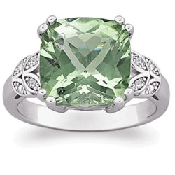 Sterling Silver Cushion-Cut Green Amethyst and Diamond Ring