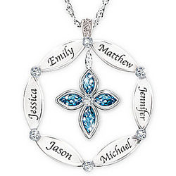 Family Blessing Personalized London Blue Topaz Pendant