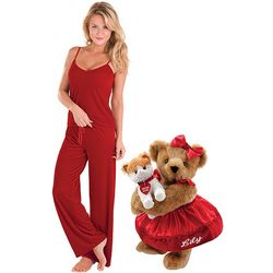 "15"" Smitten Kitten Teddy Bear & Womens XS Ruby Velour Lounge Set"